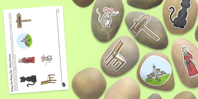 Pussy Cat Pussy Cat Story Stones Image Cut-Outs - Story stones, stone art, painted rocks, Nursery Rhymes, song