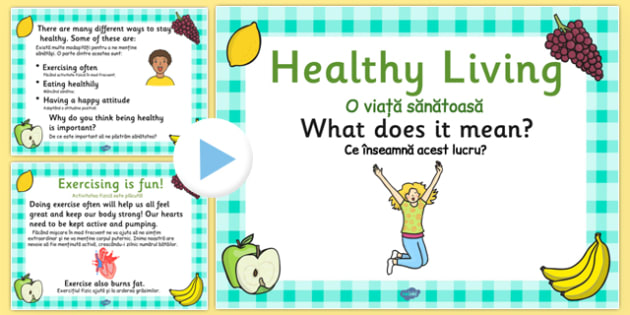 EYFS Healthy Eating and Living PowerPoint Romanian Translation - romanian, EYFS, health, food