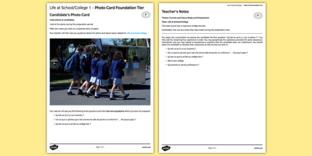 La vie scolaire 1  Carte photo Foundation Tier - french, france, francais, gcse, practice, Photo, Picture, Card, Foundation, Education, School, College