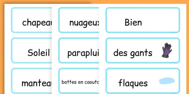 Winter Word Cards - seasons, weather, key words, visual aids  - French
