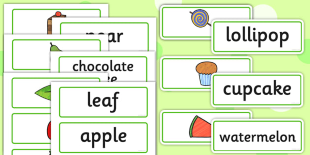 Food and Word Card Cut Outs to Support Teaching on The Very Hungry Caterpillar - caterpillar
