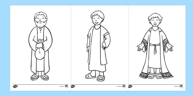 The Prodigal Son Story Colouring Sheets - usa, america, The Prodigal Son, son, father, prodigal, the lost son, lost, colouring, fine motor skills, poster, worksheet, vines, A4, display, coming back, father and son, jealous, pigs, inheritance, return,
