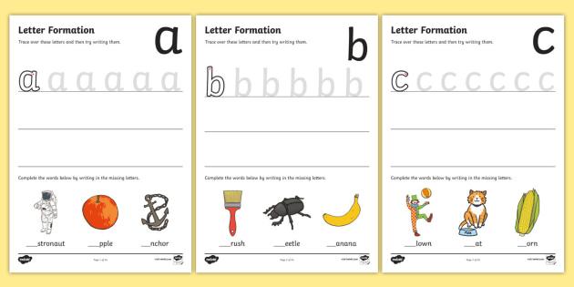 a z letter formation worksheet worksheet pack eylf literacy writing. Black Bedroom Furniture Sets. Home Design Ideas