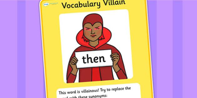 Vocabulary Villain Then Display Poster - then, vocabulary, vocabulary villian, display poster, poster for display, display, classroom display, keywords
