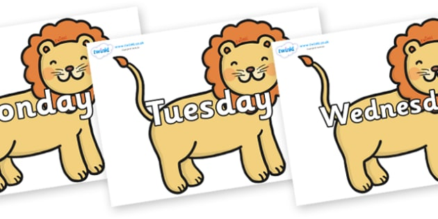 Days of the Week on Lions - Days of the Week, Weeks poster, week, display, poster, frieze, Days, Day, Monday, Tuesday, Wednesday, Thursday, Friday, Saturday, Sunday
