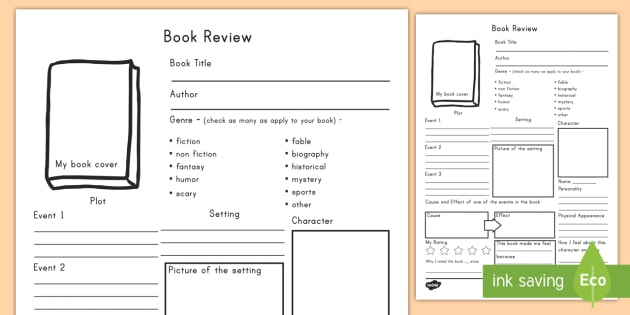 In Depth Book Review Writing Template  Book Review Template
