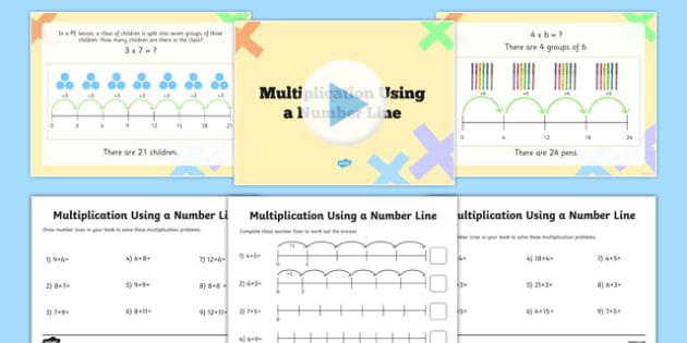 Multiplication on a Number Line PowerPoint and Activity Sheet Pack - year 2, ks1, key, stage, one, 1, repeated addition, calculation, multiply, maths, worksheet