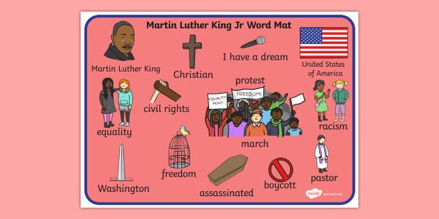 Martin Luther King, Jr. Word Mat - martin luther king jr, word mat, mat
