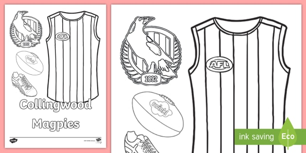 NEW * Collingwood Magpies Colouring Page - Footy Colours Day