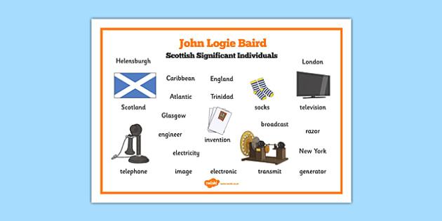 Scottish Significant Individuals John Logie Baird Word Mat - cfe, Scottish significant individual, television, invention, engineer, broadcast, Scottish history