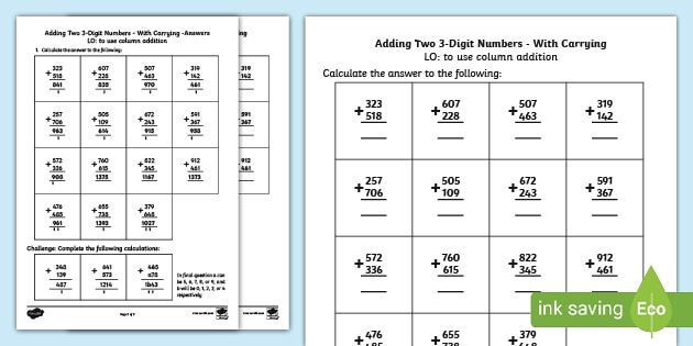3 Digit Addition With Carrying Addition Twinkl Digit column addition worksheets ks2