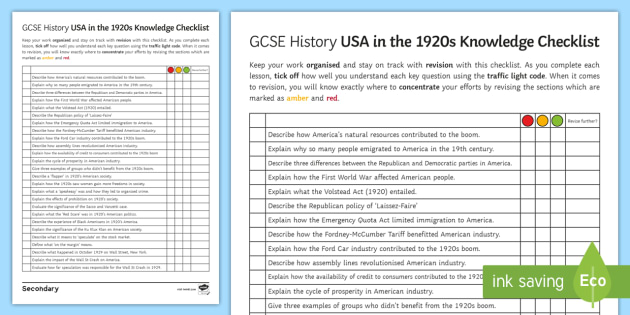 america in the 1920s knowledge checklist worksheet activity. Black Bedroom Furniture Sets. Home Design Ideas