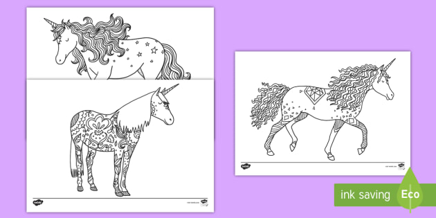 Unicorn Mindfulness Colouring Pages