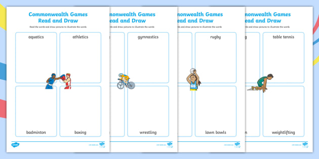 The commonwealth games read and draw worksheet sports display ccuart Images