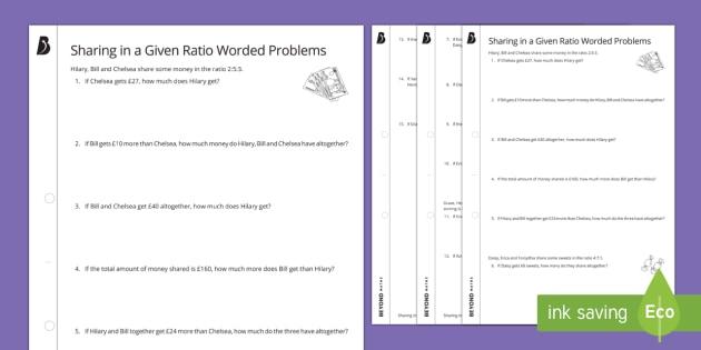 sharing in a given ratio worded problems worksheet. Black Bedroom Furniture Sets. Home Design Ideas