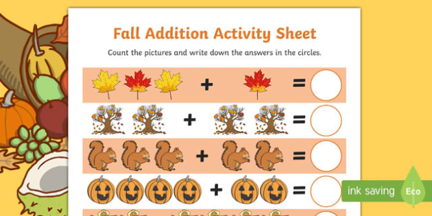 Fall Addition Math Activity Sheet