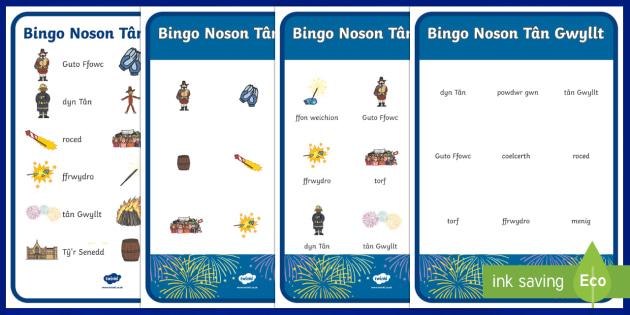 Gêm Bingo/ Loto  Noson Tân Gwyllt - Noson Tân Gwyllt  Bingo loto, pecyn gweitgareddau, Guto Ffowc, Cymraeg, Iaith, Welsh