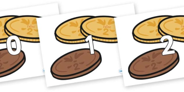 Numbers 0-50 on Chocolate Coins - 0-50, foundation stage numeracy, Number recognition, Number flashcards, counting, number frieze, Display numbers, number posters