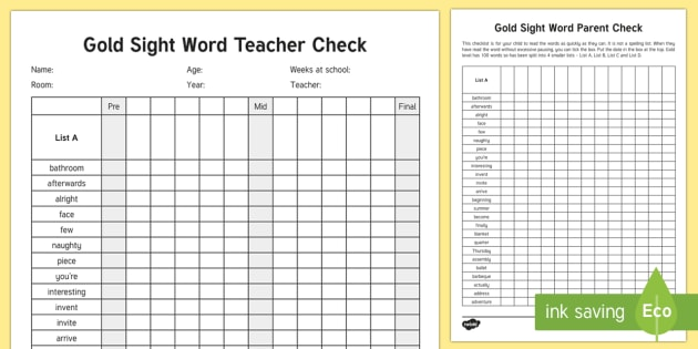 Gold Reading Sight Word Checklist - Literacy, Reading, Gold, Colour