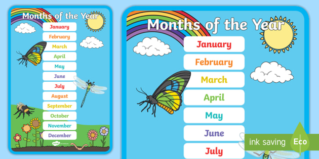 new months of the year display poster posters displays