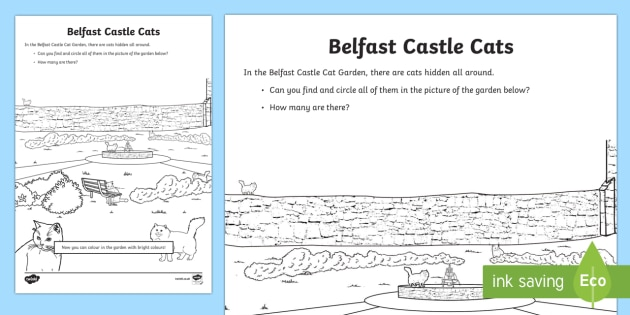 World Around Us EYFS/KS1 Northern Ireland Counting Worksheet / Activity Sheet - World Around Us, northern ireland, Belfast castle, castle cats, cat garden, colouring,