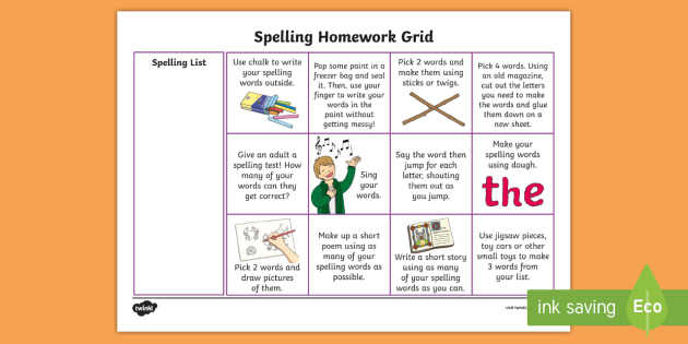 helping spelling homework