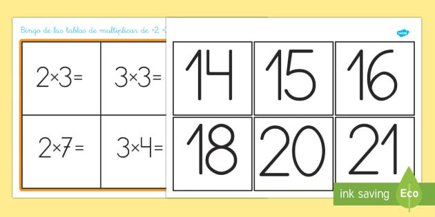 Tablas de multiplicar del 2, 3, 4, 5 y 10 Bingo