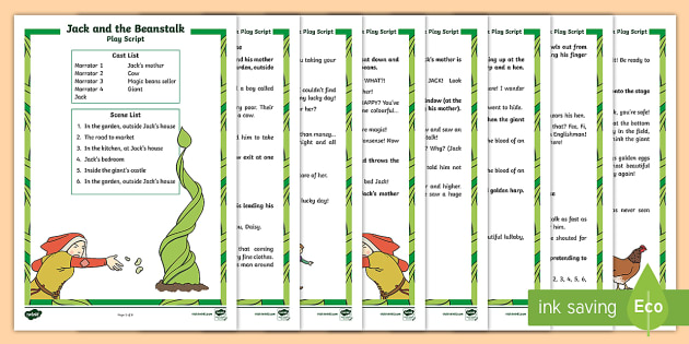 KS1 Jack and the Beanstalk Play Script - Jack and the Beanstalk, fairy tale, fairytale, KS1, play script, playscript, Literacy, Reading, lite