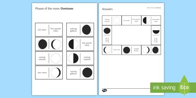 Phases of the Moon Tarsia Dominoes - Tarsia, Dominoes, Phases of the Moon, Waxing, Waning, Crescent, Full Moon, Half Moon