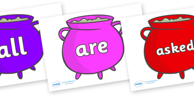Tricky Words on Cauldrons (Multicolour) - Tricky words, DfES Letters and Sounds, Letters and sounds, display, words