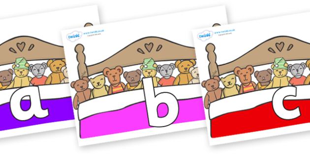 Phoneme Set on Ten in a Bed - Phoneme set, phonemes, phoneme, Letters and Sounds, DfES, display, Phase 1, Phase 2, Phase 3, Phase 5, Foundation, Literacy