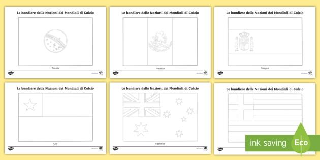 Le Bandiere Delle Nazioni Della Coppa Del Mondo Fogli Da Colorare