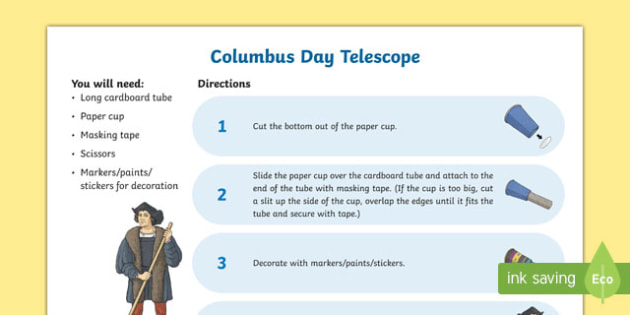 Columbus Day Telescope Craft Instructions