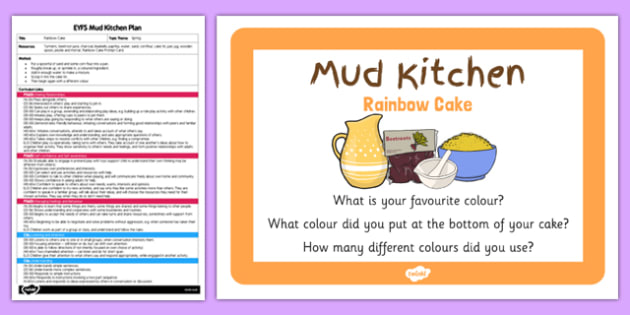 Rainbow Cake EYFS Mud Kitchen Plan and Prompt Card - mud kitchen