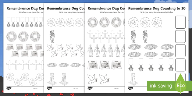 Remembrance Day Counting To 10 Worksheet Activity Sheet