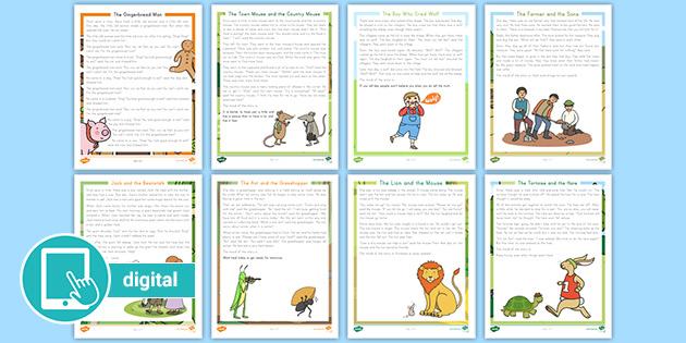 2nd Grade Fables & Reading Comprehension Worksheets Twinkl