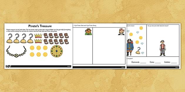 Pirates Finding Half Worksheet - pirate, worksheets, fractions
