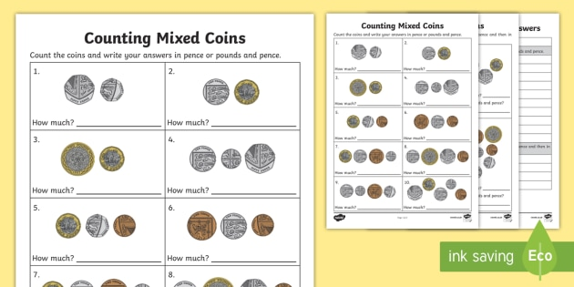 counting mixed coins worksheet. Black Bedroom Furniture Sets. Home Design Ideas