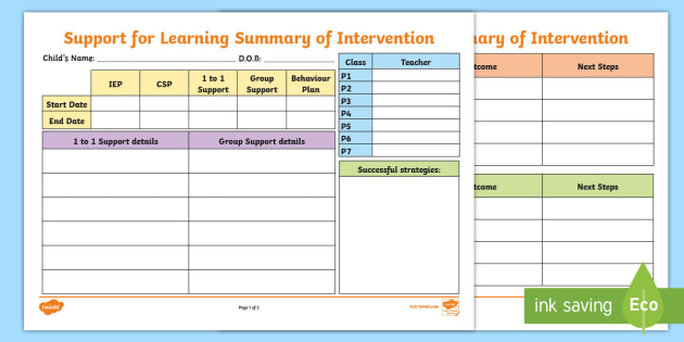 Support for Learning Summary of Intervention Template - ASN