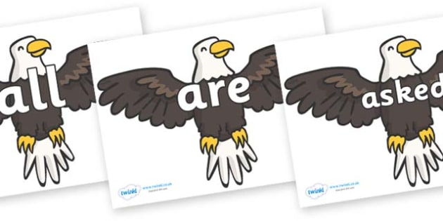 Tricky Words on Eagles - Tricky words, DfES Letters and Sounds, Letters and sounds, display, words