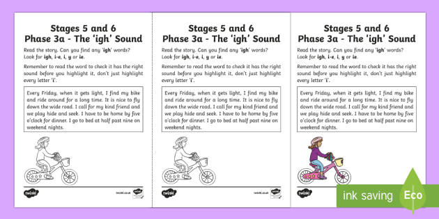 Northern Ireland Linguistic Phonics Stage 5 and 6 Phase 3a, 'igh' Sound