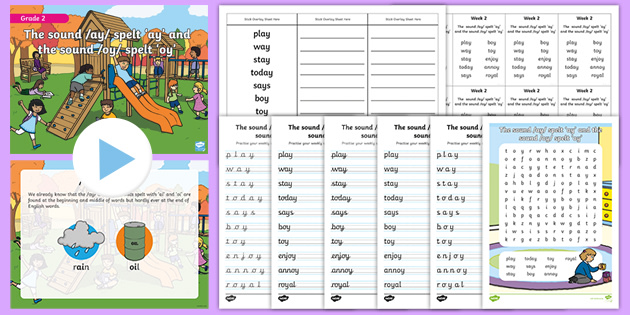 Grade 2 Phonics -ay and -oy Spelling Pack (teacher made)