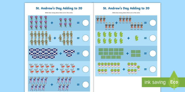 St Andrew\'s Day Adding to 20 Worksheet / Activity Sheet - Patron