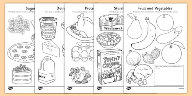 Balanced Diet Coloring Pages