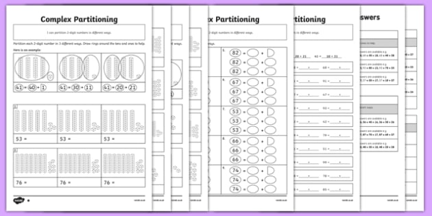Complex Partitioning of 2-Digit Numbers Differentiated Worksheet