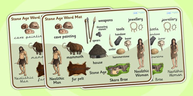 The Stone Age Word Mat - stone age, word mat, keywords, history