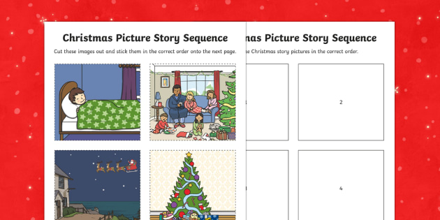 Christmas Story Sequencing Differentiated Activity Sheets
