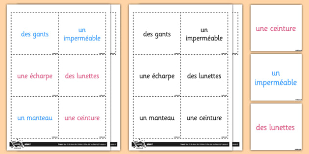 French Clothes 2 Vocabulary Flashcards - french, clothes, cards