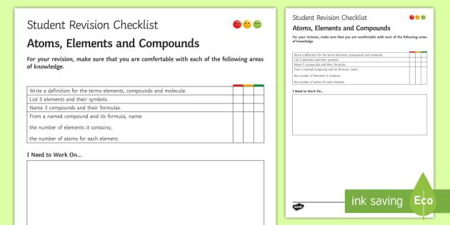 Atoms, Elements and Compounds Student Revision Checklist  - Student Progress Sheet (KS3), atoms, elements, compounds, symbols
