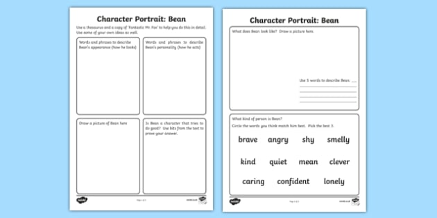 Character profile bean activity to support teaching on fantastic character profile bean activity to support teaching on fantastic mr fox mr fox bean solutioingenieria Image collections